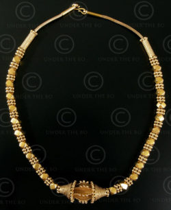 Indian gold necklace 611. Toda tribal style, South India.