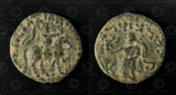 Indo-Scythian bronze coin C261A. Nomadic Indo-Scythian, Sakastan-Gandhara.
