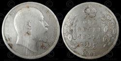English silver rupee C190A. India, 1907.