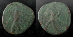 Kushan bronze coin C130A. Kushan Empire.