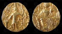Kushan gold coin C159. King Shaka. Kushan Empire.