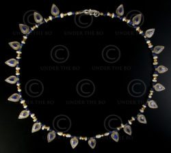 Necklace with lapis, pearls, gold and silver beads 592C