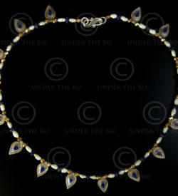 Necklace with lapis, pearls, gold and silver beads 592D