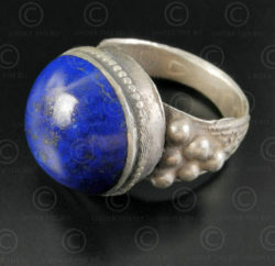 Lapis and silver ring R280E. Turkmen culture, Central Asia.