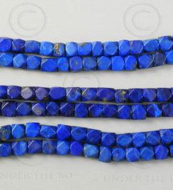 Lapis beads NBD4A. Afghan lapis lazuli, cut in India.