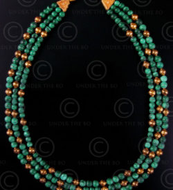 Necklace with malachite and gold beads 431, Under the Bo workshop
