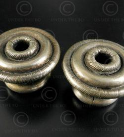 Miao silver spool earrings E209. Yao or Miao tribes, Guizhou (China), Laos or Vi