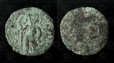 Monnaie kouchano-sassanide bronze C183. Empire Kouchan, royaume de Gandhara.
