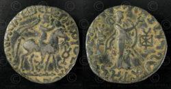 Monnaie Gandhara tétradrachme C314. Culture indo-parthe (Saka), royaume de Gandh