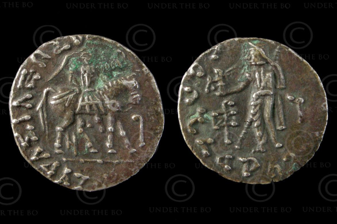 Monnaie Indo-Scythe C197. Drachme d'argent. Royaumes Indo-Scythes – Gandhara.