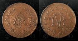 Monnaie Travancore bronze C146A. Etat du Kerala du sud, Inde.