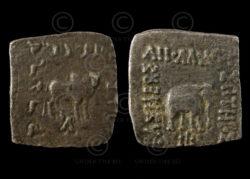 Monnaie indo-grecque C217D. Drachme d'argent d'Apollodotus I. Bactriane