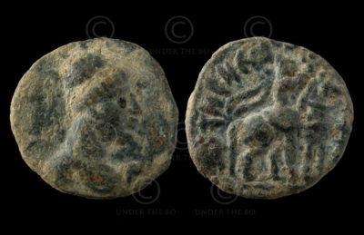 Monnaie kouchane C253E. Vima Takto (circa 80 - 100 ap. J-C). Empire Kouchan.