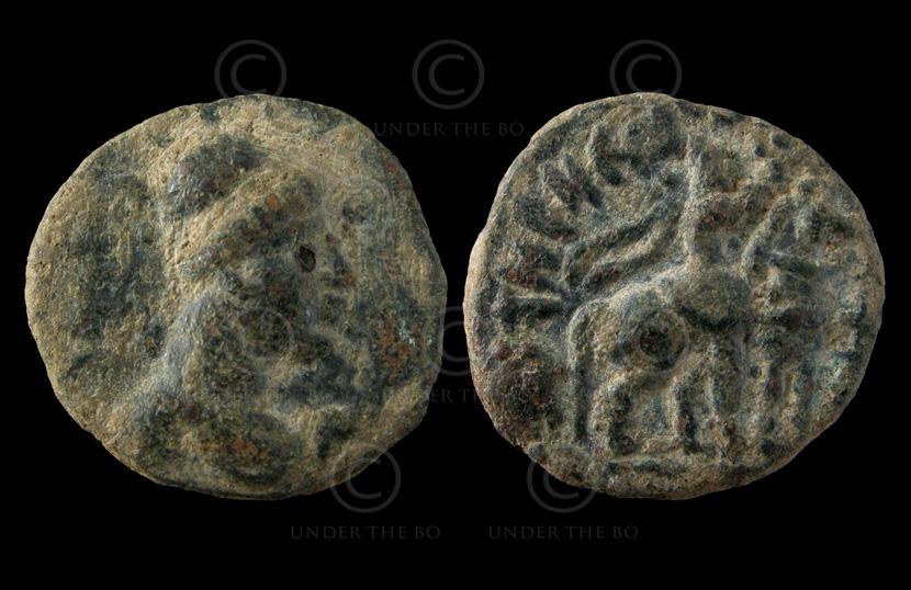 Monnaie kouchane C253E. Vima Takto (circa 80 – 100 ap. J-C). Empire Kouchan.
