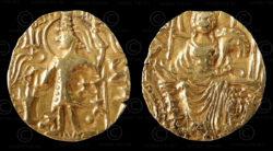 Monnaie or kouchane C159. Shaka (circa 325-345 ap. J-C). Empire Kouchan.
