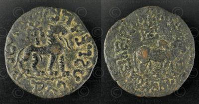 Monnaie Indo-Scythe bronze C312. Héxa-chalkon en alliage de cuivre représentant