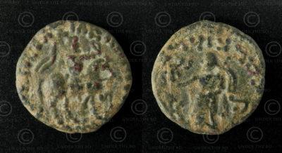 Monnaie Indo-Scythe bronze C261A. Nomades indo-scythes, Sakastan-Gandhara.