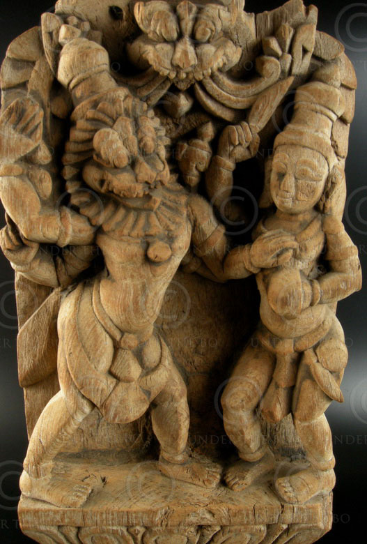 Narasimha wood statue IN592. Tamil Nadu, Southern India. 18th cent.