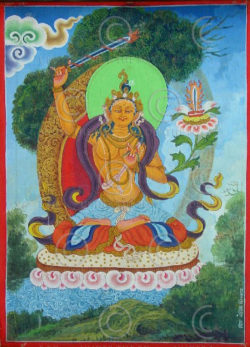 Contemporary painting Manjushri by student of Amir Man Chitraka, NEPAL