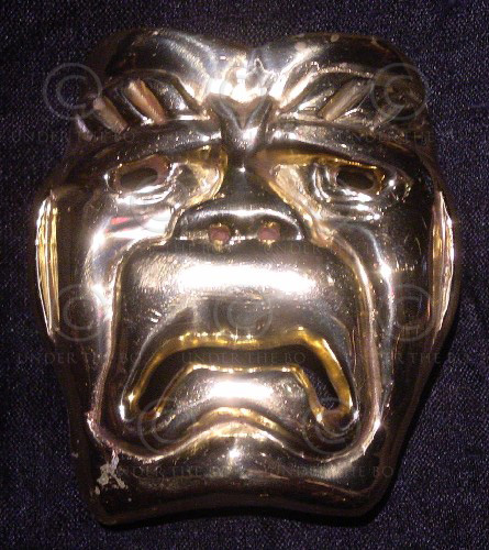Solid  brass belt buckle FB13. style of colossal Olmec stone heads, Mexico