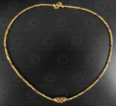 Orisha gold and rubies necklace 637. Designed by François Villaret.