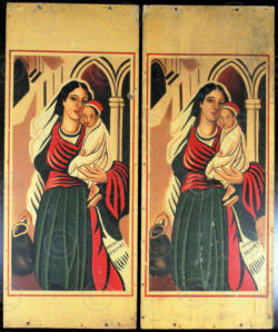 Indian paintings InP3. Pair of church panels, 1940s, Tamara de Lempika style