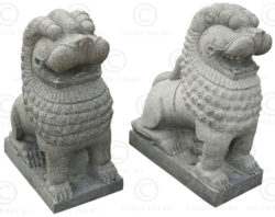 Pair granite lions 09MM7A. Tamil Nadu, southern India.