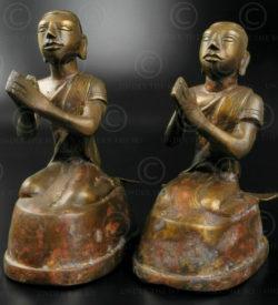 Pair Mandalay Buddha attendants BU493. Northern Burma.