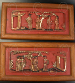 Chinese panels C83, Pair decorative panels, China.