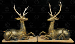 Pair lacquered wood deer T442. Ratanakosin style and period, Siam (Thailand).