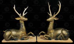 Paire de cerfs bois laque T442. Style et période de Ratanakosin, Siam (Thaïlande