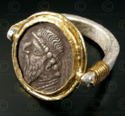 Parthian coin ring R272. 24k gold and Sterling silver, François Villaret design.