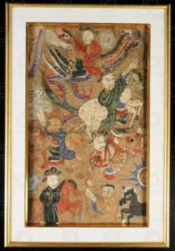 Peinture Yao Lantien encadrée YA134B. Minorité Yao Lantien, sud de la Chine ou L