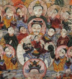 Peinture Yao Lantien encadrée YA157A. Minorité Yao Lantien, sud de la Chine ou L