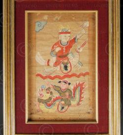 Peinture Yao encadrée YA67. Minorité Yao Lantien, sud de la Chine ou Laos.