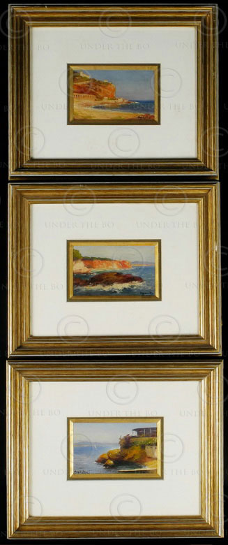 Peintures huile Toulon F1 signées Agusta. 1920-40s.