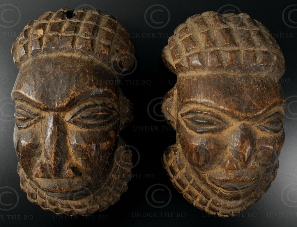 Pendentifs masques bamoun 12OL12. Culture bamoune, Cameroun.