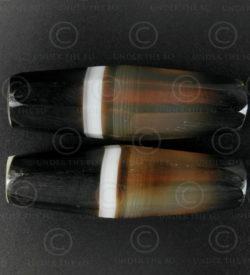 Perles agate à bandes à facettes BD277. Trouvée en Afghanistan.