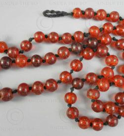 Perles ambre burmite rouge BD223. Inde, ambre du nord de la Birmanie