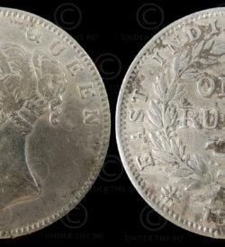 Victoria coin C186. Queen Victoria silver rupee.