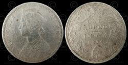 Roupie Victoria argent C188A. Inde, 1874.