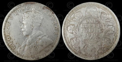 Roupie anglaise argent C190B. Inde, 1919.