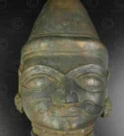 Bronze Shiva mask 16P13A. Bhuta cult, Tulu Nadu region. Coastal Southern Karnataka state or Northern Kerala, Southern India.