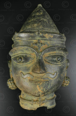 Bronze Shiva mask 16P13C. Bhuta cult, Tulu Nadu region. Coastal Southern Karnataka state or Northern Kerala, Southern India.