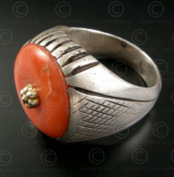 Silver and coral ring R279B. Afghanistan.