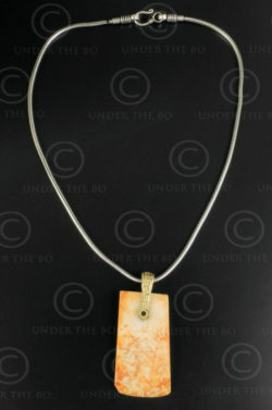 Silver chain with white jade pendant 639. Designed by François Villaret.