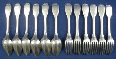 Silver table set FVF2. Early 19th century, Burgundy, France.