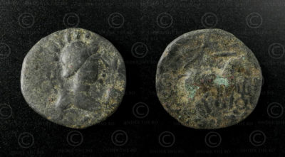 Kushan bronze coin C134A. Kushan Empire.