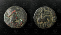 Kushan bronze coin C134B. Kushan Empire.