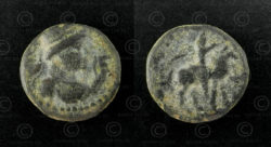 Kushan bronze coin C262J. Kushan Empire.